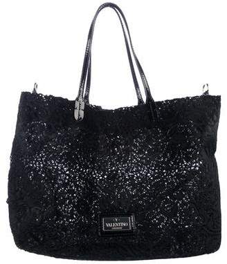 Valentino Embellished Ponyhair Tote