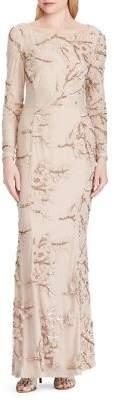 Lauren Ralph Lauren Sequined Embroidery Long Dress