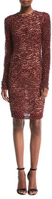 Naeem Khan High-Neck Long-Sleeve Beaded Cocktail Dress