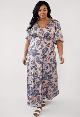 Marée Pour Toi Maree Pour Toi Tan Split Front Peasant Maxi Dress Size 16
