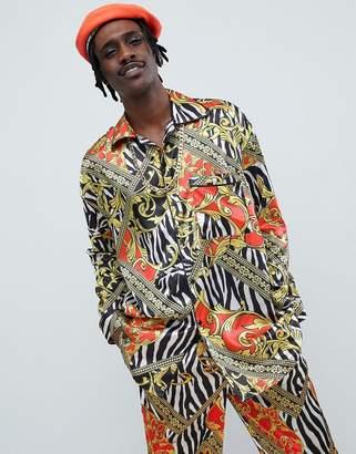 Jaded London Zebra Baroque Printed Pajama Shirt