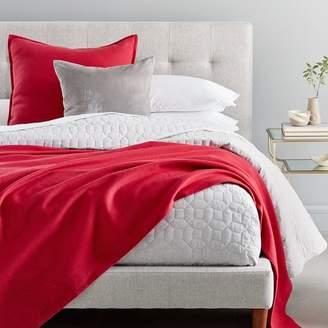 west elm Flannel Herringbone Blanket - Dark Red