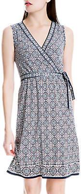 Max Studio Sleeveless Print Jersey Wrap Dress, Blue