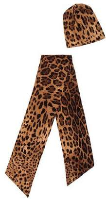 Dolce & Gabbana Leopard Print Scarf Set