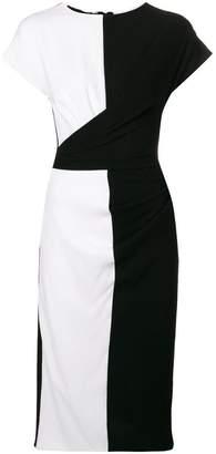 Talbot Runhof bi-colour fitted dress