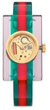 Gucci Transparent Plexiglas Bangle Watch