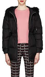Prada Women's Fur-Trimmed Puffer Coat-Black