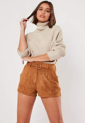 Missguided Camel Faux Suede Belted Shorts