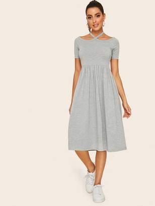 Shein Slub Knit Halterneck Tee Dress