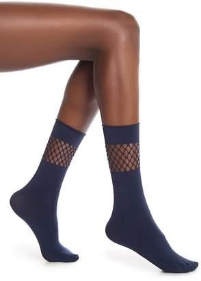 Steve Madden Fishnet Anklet Roll Socks