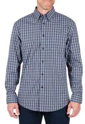 Haggar Big Tall Long Sleeve Multi Plaid Sports Shirt