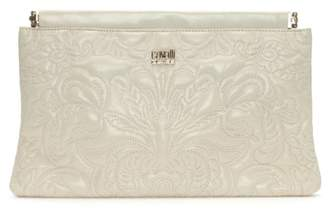 Class Roberto Cavalli Chloe White Leather Embroidered Clutch Bag
