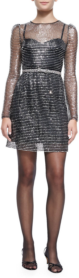 Marc Jacobs Marc Jacobs Long-Sleeve Dress W/ Rhinestone Bow Belt