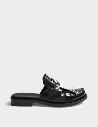 Burberry Beckshill Fringed Mule Shoes in Black Leather