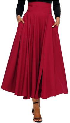 Lrud Women's High Waist Pleated Belted A-Line Ruffle Pocket Flared Maxi Skirt