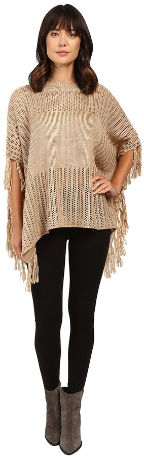 Brigitte Bailey Ginger Crocheted Poncho with Fringe