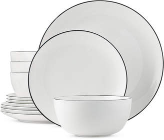 Hotel Collection Black Line 12-Piece Dinnerware Set, Service for 4