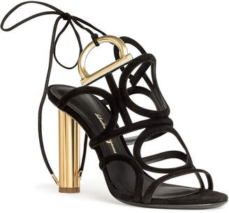Salvatore Ferragamo Vinci 105 black suede golden heel sandals