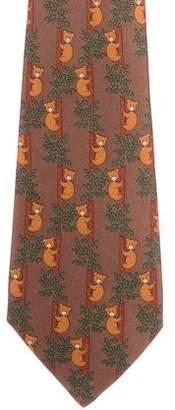 Hermes Silk Bear Print Tie