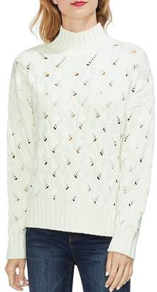 Vince Camuto Texture-Stitch Mock Neck Sweater