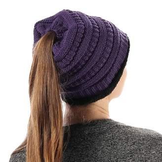 2e5aa73b Fly London HAWK Women Knit Warm Liner Beanie Hat Messy High Ponytail Skull  Cap