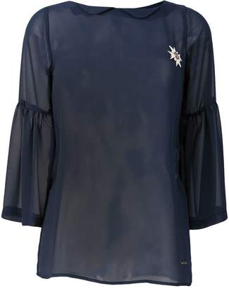 Frankie Morello embellished sheer blouse