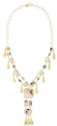 Pippa Small Turquoise Mountain - Tamadun Agate 18kt Gold Plated Necklace - Womens - Grey