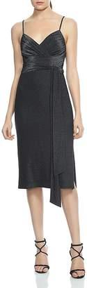 Halston Faux-Wrap Metallic Jersey Dress