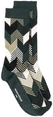 MAISON KITSUNÉ jacquard fox pattern socks