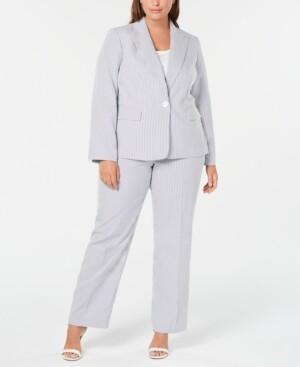 Le Suit Plus Size Single-Button Seersucker Pantsuit