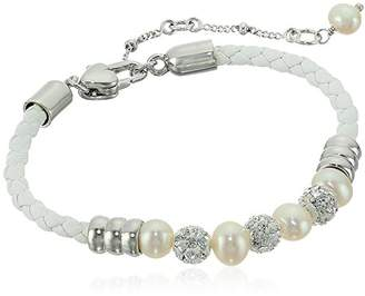 Honora Girl's Sterling Silver Freshwater Cultured Pearls with Crystals on Leather Cord Bracelet
