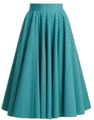 Bottega Veneta Studded A Line Cotton Poplin Skirt - Womens - Blue