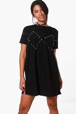Damen Clarissa Perlenbesetztes Hängerchenkleid aus Webmaterial in Schwarz