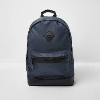 River Island Mens Navy front pocket backpack