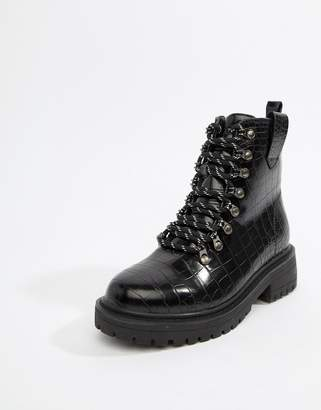 PrettyLittleThing lace up hiker boot in black patent