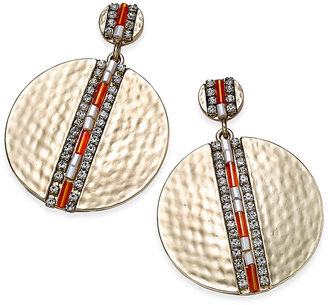 Thalia Sodi Gold-Tone Beaded Hammered Disc Drop Earrings, Only at Macy's $26.50 thestylecure.com