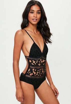 Missguided Black Cut Out Swimsuit
