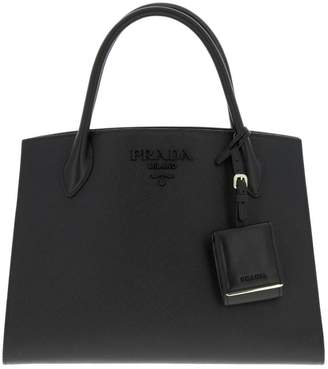 080d1da92e70 Prada Handbag Monochrome Bag In Saffiano Leather With Maxi Logo And  Removable Shoulder Strap