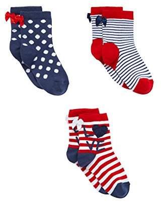 Mothercare Girl's 3 Pack Socks,One (Size: 6-12 Hosiery)