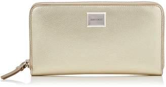 Jimmy Choo MALOU Gold Metallic Grainy Calf Leather Large Zip Around Wallet