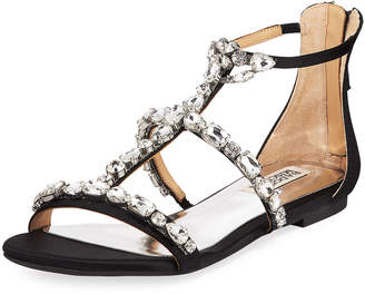 Badgley Mischka Waren Satin Embellished Sandals