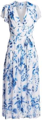ML Monique Lhuillier Floral Flutter-Sleeve Midi Dress