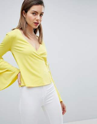 Ivyrevel Wrap Front Jersey Top with Bell Sleeve