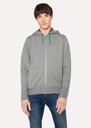 Paul Smith Men's Grey Organic-Cotton Zip-Front Zebra Logo Hoodie