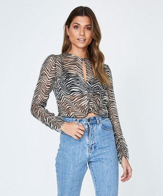 Alice In The Eve Sheer Zebra Ruched Top Black and White