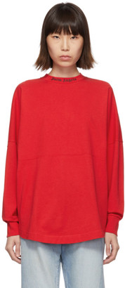 Palm Angels Red Logo Long Sleeve T-Shirt