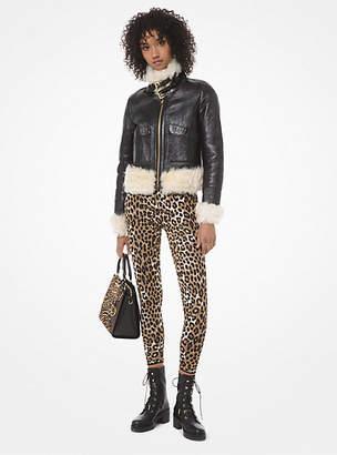 Michael Kors Leopard Stretch-Viscose Jacquard Leggings