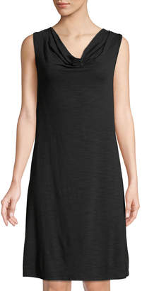 Neiman Marcus Cowl-Neck Embroidered Back Mini Dress