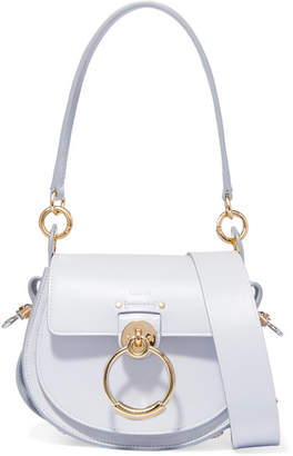 Chloé Tess Small Leather And Suede Shoulder Bag - Light gray