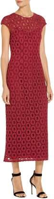 St. John Metallic Guipure Lace Dress